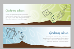 Link to3 hand-painted banner gardening elements vector