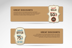 Link to3 paper discount banner vector