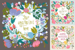 Link to3 retro floral background vector