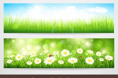 Link to3 spring landscape banner vector