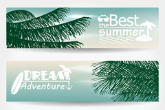 Link to3 summer vacation beach banner vector