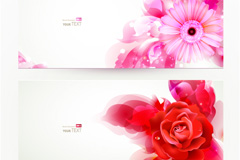 3 types of exquisite flowers banner vector
