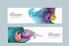 3 watercolor woman avatar banner vector diagrams