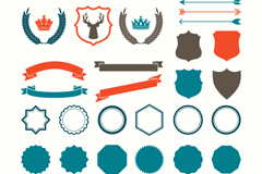 Link to30 color blank labels and ribbons vector diagrams