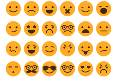 30 orange circular expression vector
