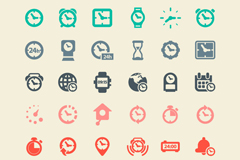 Link to30 simple coloured clock icon vector