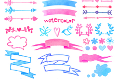 Link to32 watercolor arrow and ribbons vector