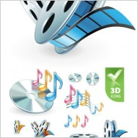 Link to3d audio video icon vector