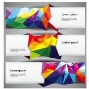 Link to3d colored shapes banners vector set 01 free
