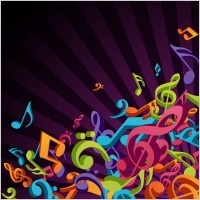 Link to3d colorful music vector background