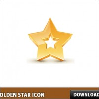 Link to3d golden star icon psd