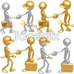 3d little people shake hands vector