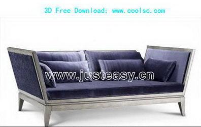 Link to3d model of a blue sofa over portfolio (including materials)