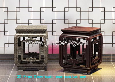 Link to3d model of chinese carved wooden bench