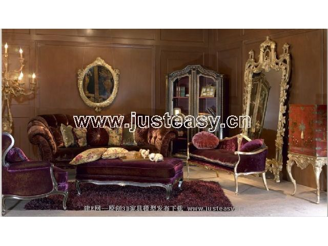 Link to3d model of the classical combination of luxurious furniture (including materials)