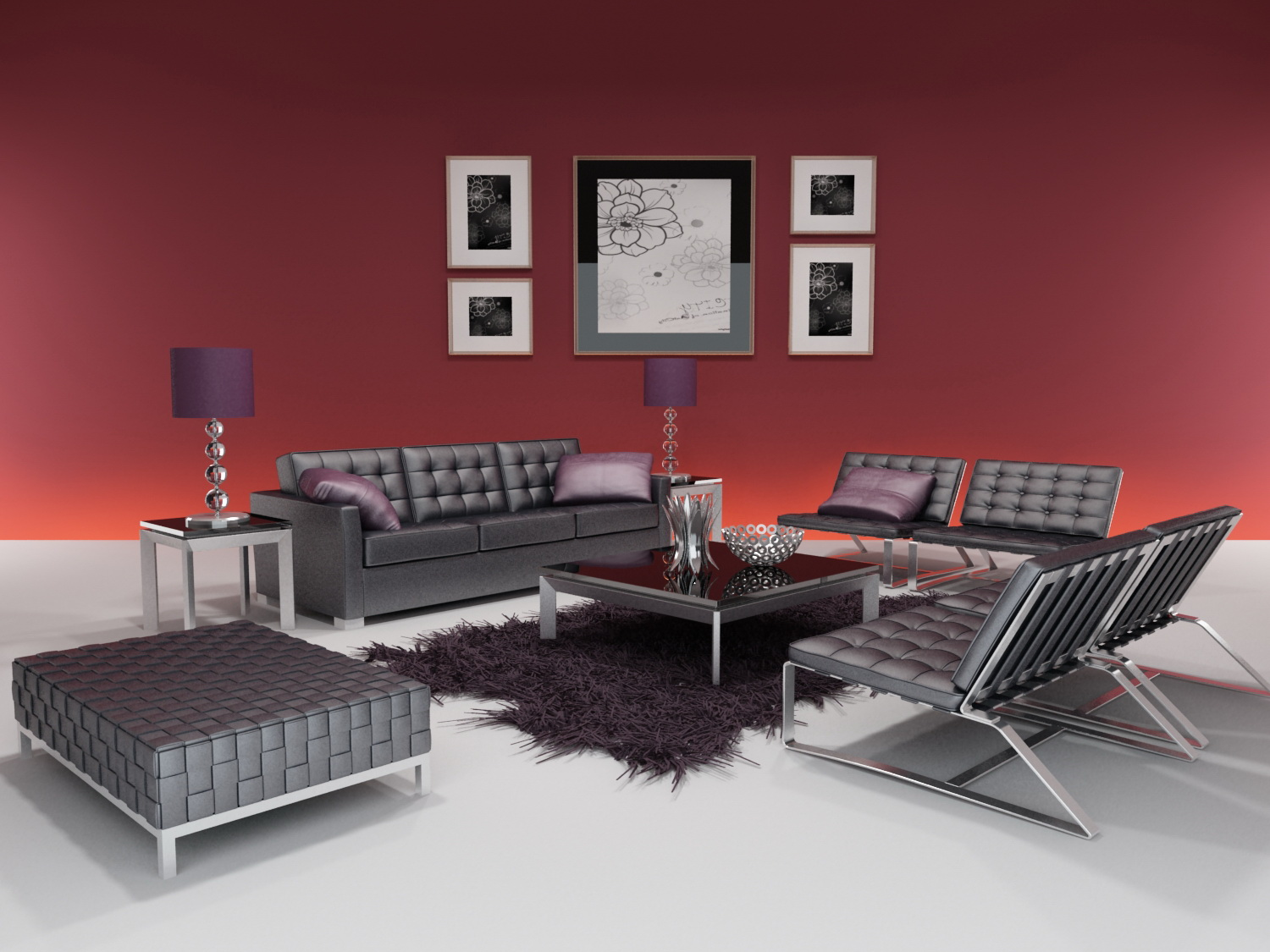 Link to3d model of the whole furniture of modern style (including materials)