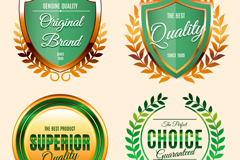 Link to4 beautiful green quality label vector diagrams