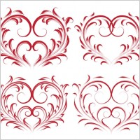 Link to4 beautiful heartshaped pattern vector