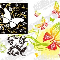 Link to4, bird or butterfly pattern combination of vector material