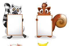 Link to4 blank board cartoon animals vector