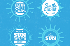 Link to4 blue sun labels vector