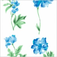 Link to4 blue watercolor style flowers psd