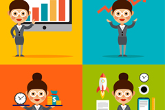 Link to4 business women vector illustration