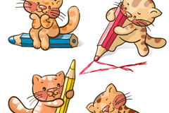 Link to4 cartoon cat with pencil vector