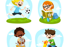 4 cartoon of children who play vector graphics