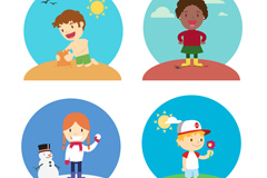 Link to4 cartoon of children who play vector