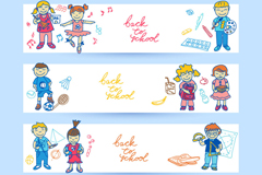 Link to4-cartoon-student banner vector