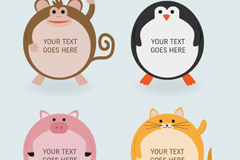 Link to4 cartoons round the animal label vector