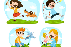 Link to4 children playing design vector