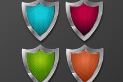 4 colored metal shield vector