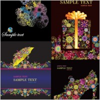 Link to4 colorful flower theme vector