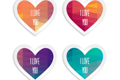 Link to4-colour of love label vector