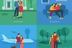 Link to4 creative couple illustration vector