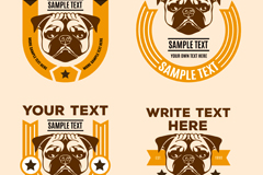 Link to4 creative designer puggle dog tag vector