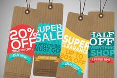 Link to4 discount paper tags design vector