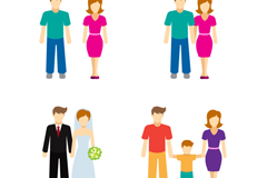 Link to4 family character design vector graph
