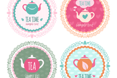 Link to4 fresh round teapot tag vector