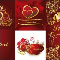 Link to4 gold heartshaped pattern vector