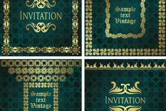 Link to4 gorgeous green invitation card vector