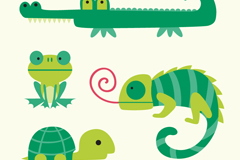 Link to4 green animal cartoon vector