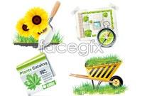 Link to4 green garden tools vector graphics