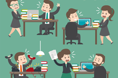 Link to4 groups of busy business people vector illustration