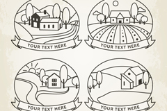Link to4 hand-painted houses on the outskirts label vector diagrams