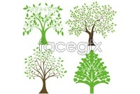Link to4 hand-painted tree illustration vector map