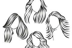 Link to4 hand-painted women's hair styles vector
