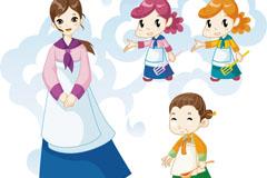 4 korea figure and pattern design vector
